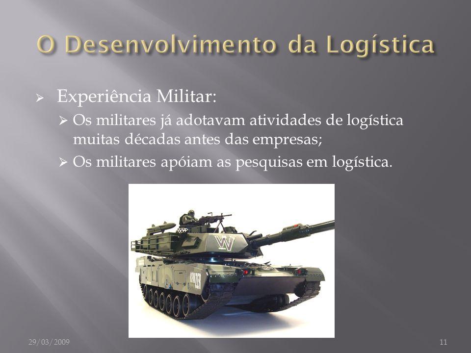 Experiência Militar: Os militares já adotavam atividades de logística muitas décadas antes das empresas; Os militares apóiam as pesquisas em logística