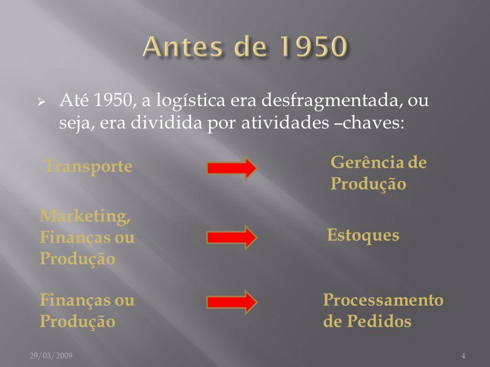 Até 1950, a logística era desfragmentada, ou seja, era dividida por atividades –chaves: Transporte Marketing, Finanças ou Produção Finanças ou Produçã