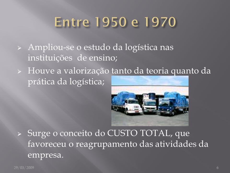 Ampliou-se o estudo da logística nas instituições de ensino; Houve a valorização tanto da teoria quanto da prática da logística; Surge o conceito do C