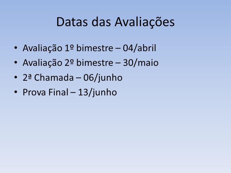 Datas das Avaliações Avaliação 1º bimestre – 04/abril Avaliação 2º bimestre – 30/maio 2ª Chamada – 06/junho Prova Final – 13/junho