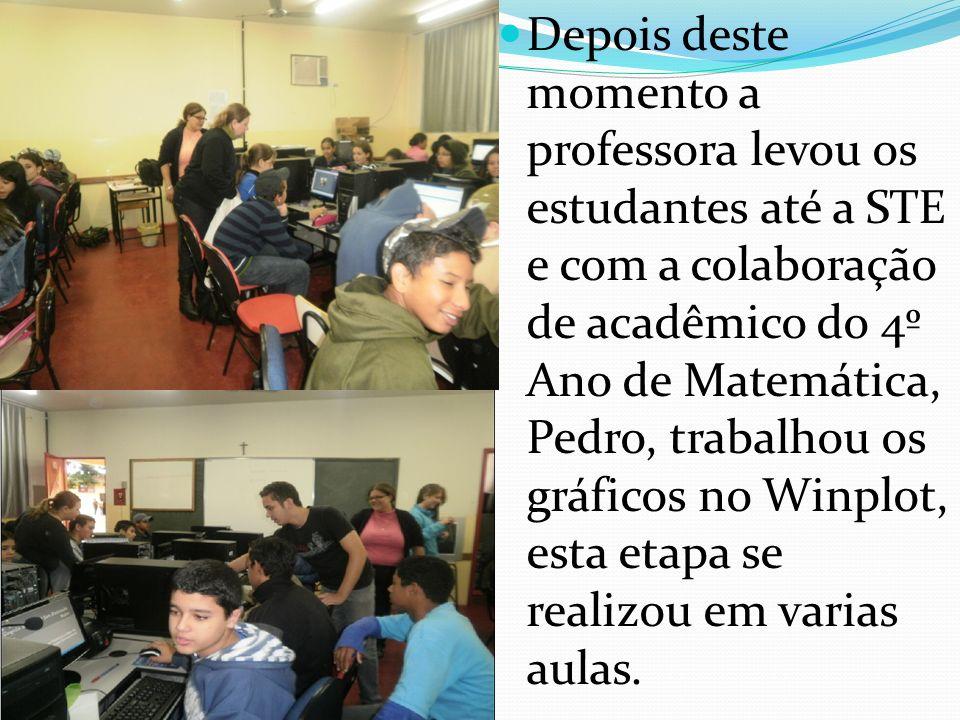 Depois deste momento a professora levou os estudantes até a STE e com a colaboração de acadêmico do 4º Ano de Matemática, Pedro, trabalhou os gráficos