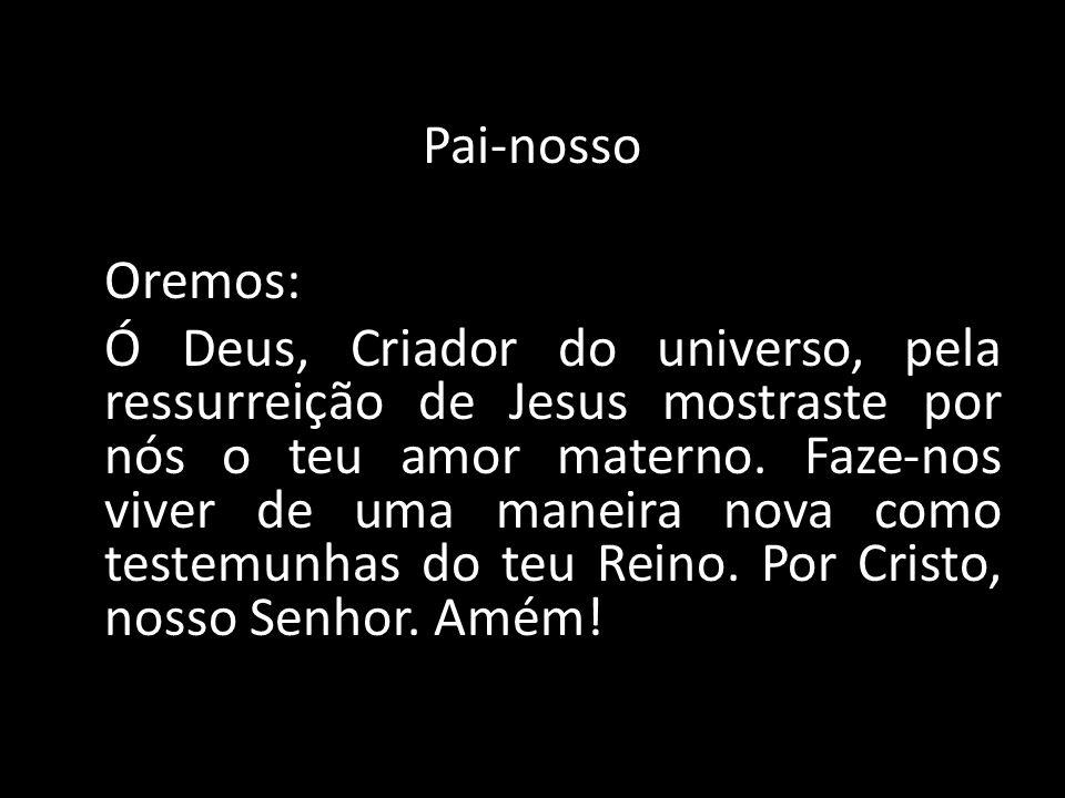 Pai-nosso Oremos: Ó Deus, Criador do universo, pela ressurreição de Jesus mostraste por nós o teu amor materno. Faze-nos viver de uma maneira nova com