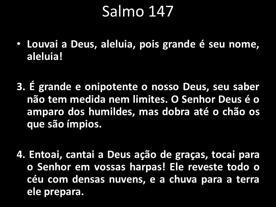 Salmo 147 Louvai a Deus, aleluia, pois grande é seu nome, aleluia! 3. É grande e onipotente o nosso Deus, seu saber não tem medida nem limites. O Senh