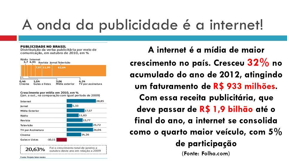 A onda da publicidade é a internet.A internet é a mídia de maior crescimento no país.