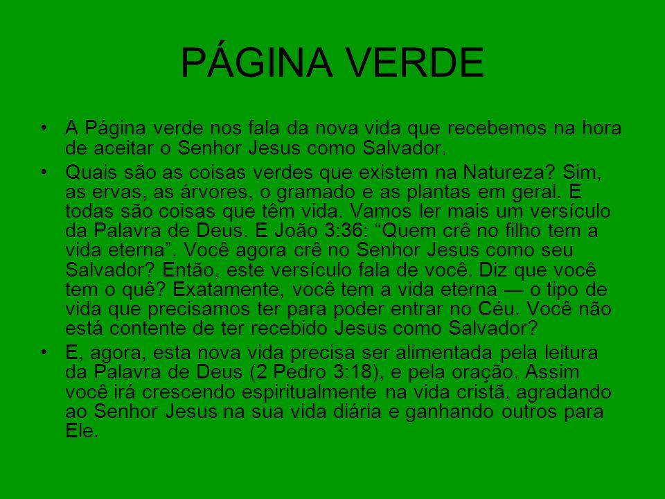PÁGINA VERDE A Página verde nos fala da nova vida que recebemos na hora de aceitar o Senhor Jesus como Salvador.