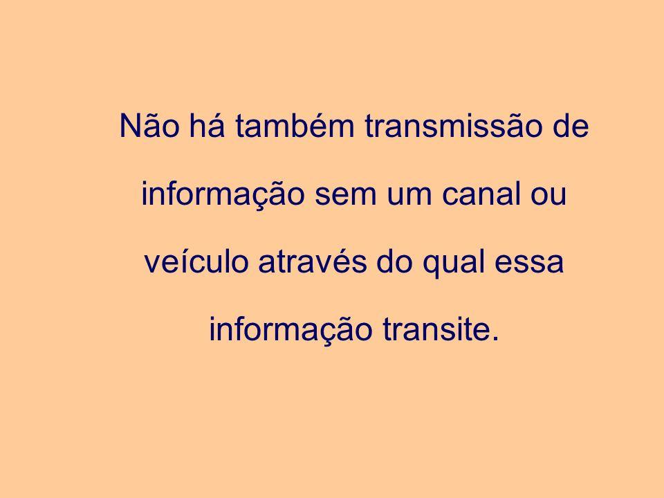 Não há também transmissão de informação sem um canal ou veículo através do qual essa informação transite.