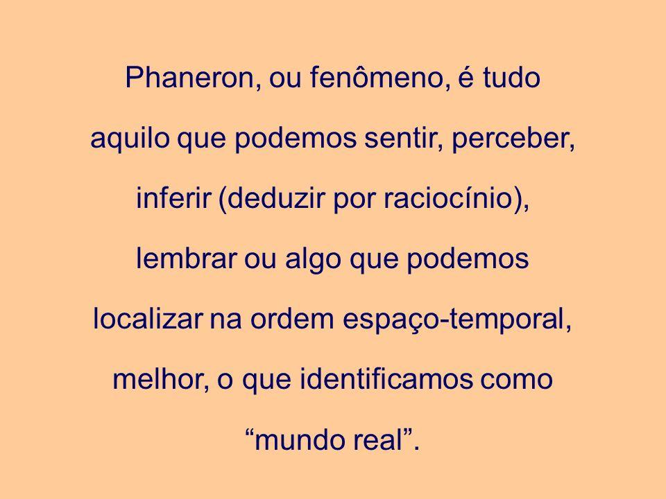 Phaneron, ou fenômeno, é tudo aquilo que podemos sentir, perceber, inferir (deduzir por raciocínio), lembrar ou algo que podemos localizar na ordem es