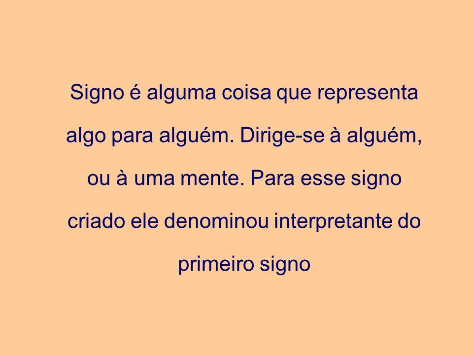 Signo é alguma coisa que representa algo para alguém. Dirige-se à alguém, ou à uma mente. Para esse signo criado ele denominou interpretante do primei