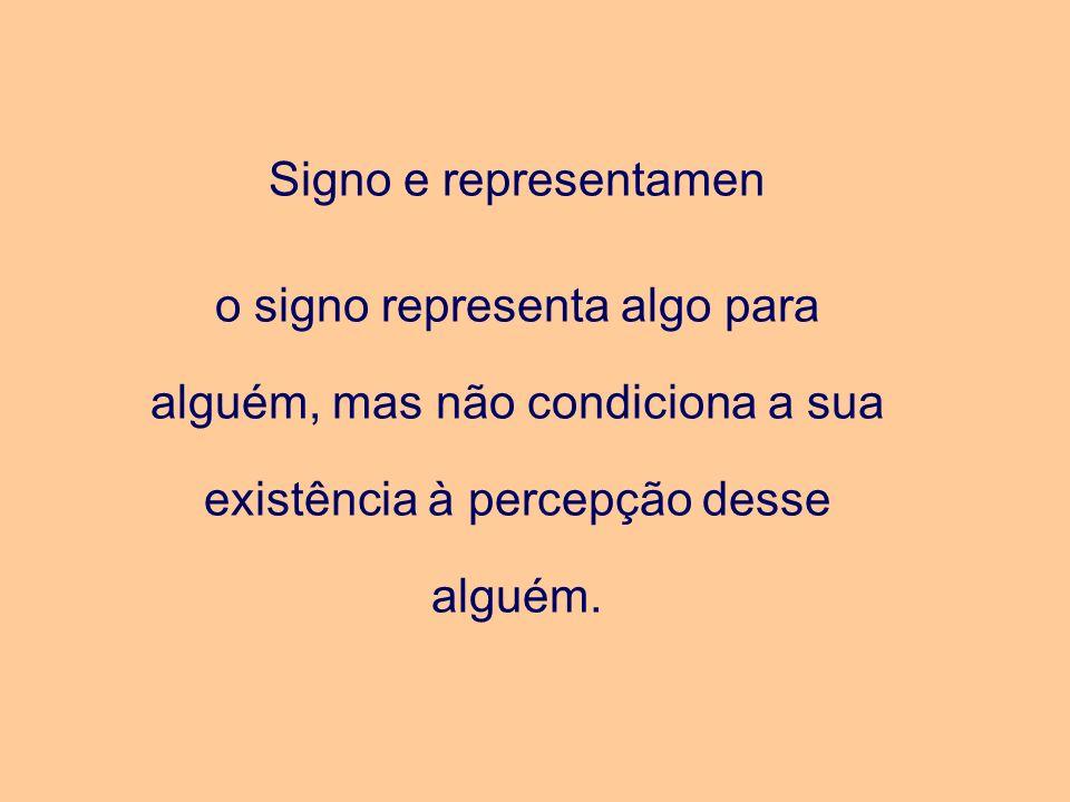 Signo e representamen o signo representa algo para alguém, mas não condiciona a sua existência à percepção desse alguém.