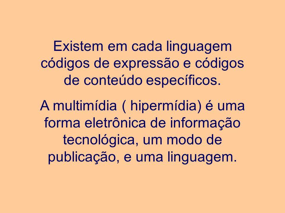 Existem em cada linguagem códigos de expressão e códigos de conteúdo específicos. A multimídia ( hipermídia) é uma forma eletrônica de informação tecn