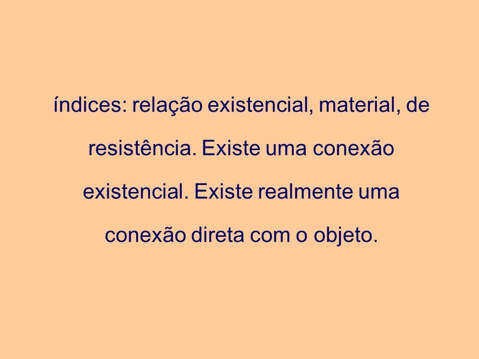 índices: relação existencial, material, de resistência. Existe uma conexão existencial. Existe realmente uma conexão direta com o objeto.