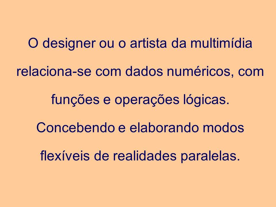 O designer ou o artista da multimídia relaciona-se com dados numéricos, com funções e operações lógicas. Concebendo e elaborando modos flexíveis de re