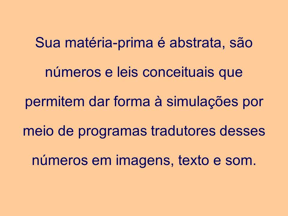 Sua matéria-prima é abstrata, são números e leis conceituais que permitem dar forma à simulações por meio de programas tradutores desses números em im