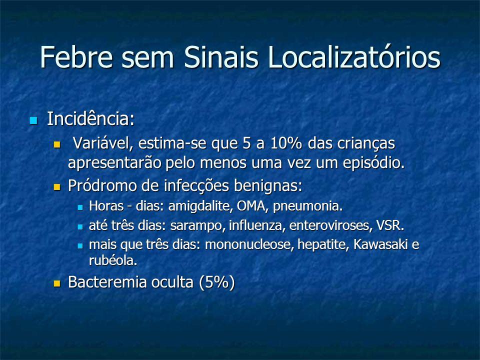 Febre sem Sinais Localizatórios Incidência: Incidência: Variável, estima-se que 5 a 10% das crianças apresentarão pelo menos uma vez um episódio. Vari