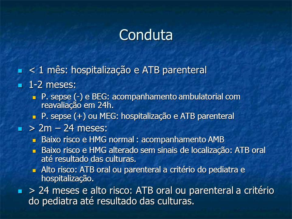 Conduta < 1 mês: hospitalização e ATB parenteral < 1 mês: hospitalização e ATB parenteral 1-2 meses: 1-2 meses: P. sepse (-) e BEG: acompanhamento amb