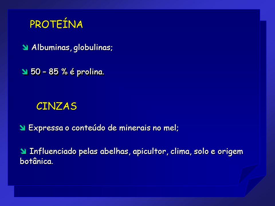 CINZAS 50 – 85 % é prolina. 50 – 85 % é prolina. PROTEÍNA Expressa o conteúdo de minerais no mel; Expressa o conteúdo de minerais no mel; Albuminas, g