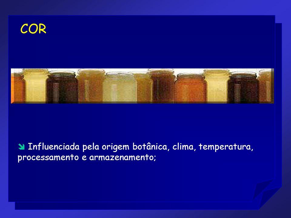 COR Influenciada pela origem botânica, clima, temperatura, processamento e armazenamento;
