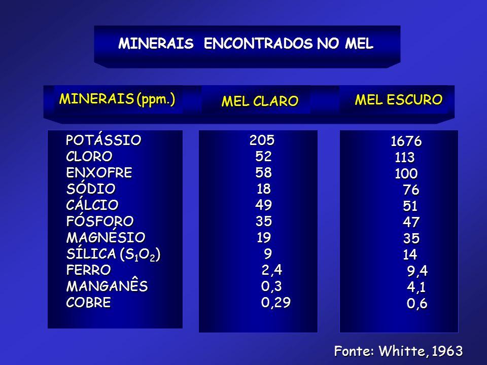MINERAIS ENCONTRADOS NO MEL MINERAIS (ppm.) MEL CLARO MEL ESCURO POTÁSSIOCLOROENXOFRESÓDIOCÁLCIOFÓSFOROMAGNÉSIO SÍLICA (S 1 O 2 ) FERROMANGANÊSCOBRE 2