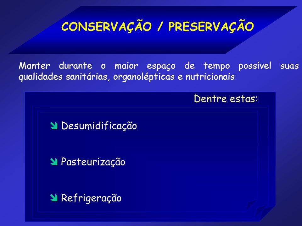 CONSERVAÇÃO / PRESERVAÇÃO Manter durante o maior espaço de tempo possível suas qualidades sanitárias, organolépticas e nutricionais Desumidificação Pa