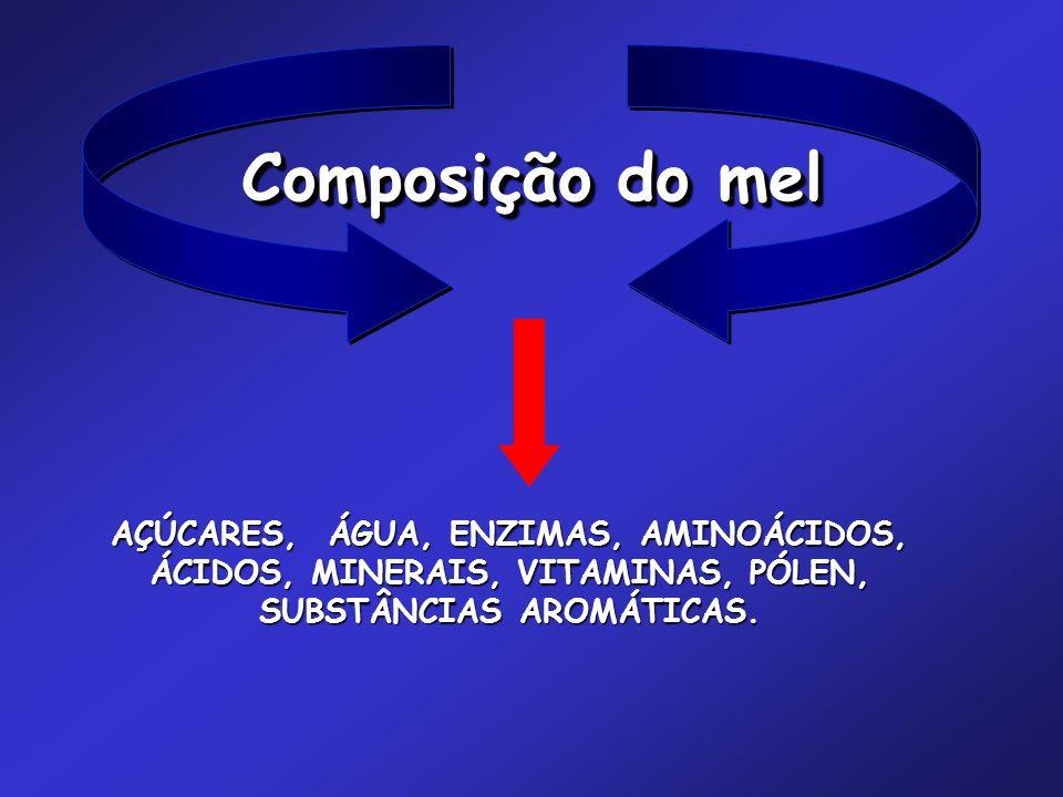 Composição do mel AÇÚCARES, ÁGUA, ENZIMAS, AMINOÁCIDOS, ÁCIDOS, MINERAIS, VITAMINAS, PÓLEN, SUBSTÂNCIAS AROMÁTICAS.