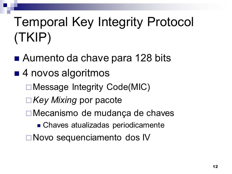 12 Temporal Key Integrity Protocol (TKIP) Aumento da chave para 128 bits 4 novos algoritmos Message Integrity Code(MIC) Key Mixing por pacote Mecanism