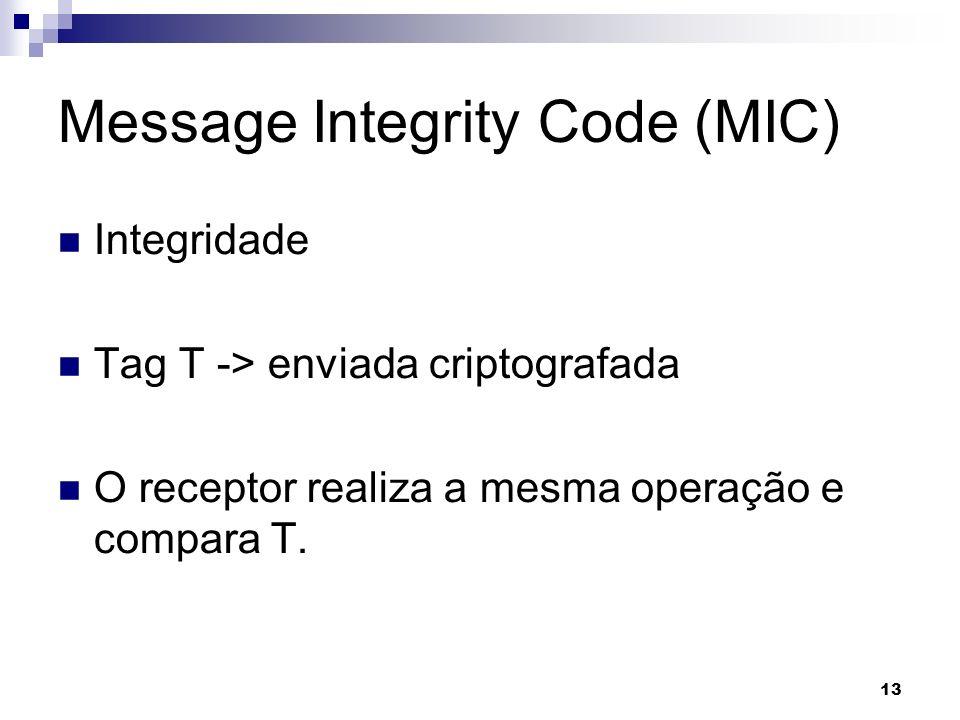13 Message Integrity Code (MIC) Integridade Tag T -> enviada criptografada O receptor realiza a mesma operação e compara T.