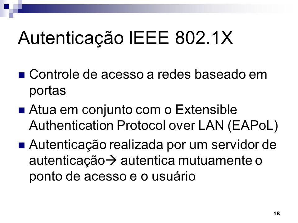 18 Autenticação IEEE 802.1X Controle de acesso a redes baseado em portas Atua em conjunto com o Extensible Authentication Protocol over LAN (EAPoL) Au