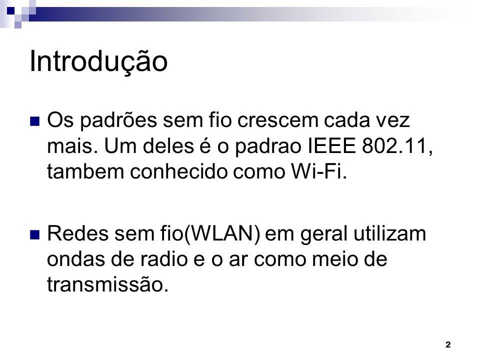 2 Introdução Os padrões sem fio crescem cada vez mais. Um deles é o padrao IEEE 802.11, tambem conhecido como Wi-Fi. Redes sem fio(WLAN) em geral util