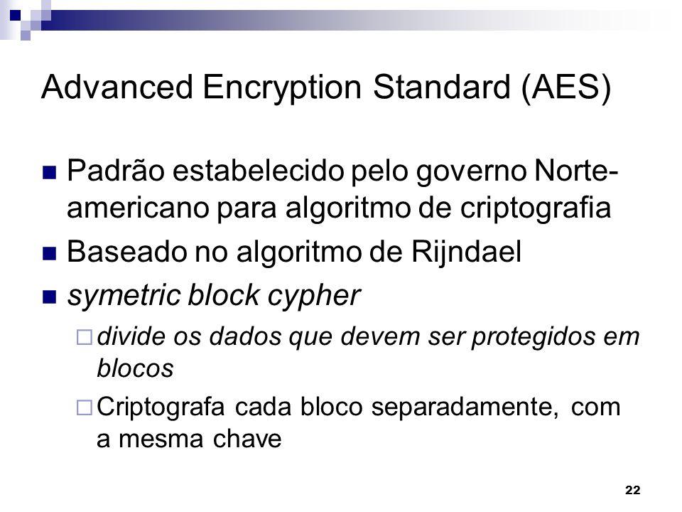 22 Advanced Encryption Standard (AES) Padrão estabelecido pelo governo Norte- americano para algoritmo de criptografia Baseado no algoritmo de Rijndae