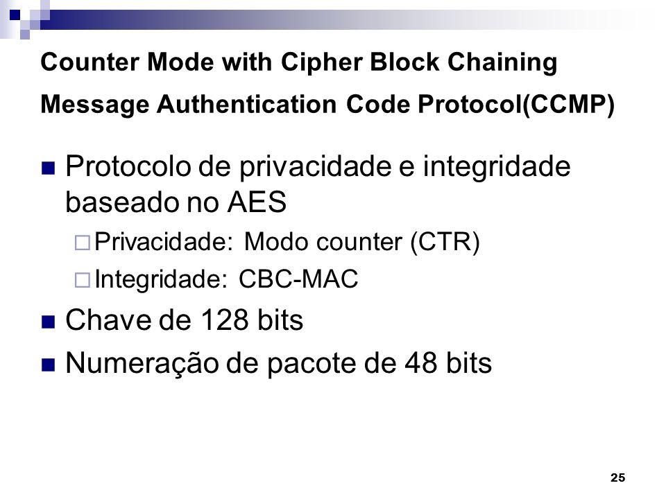 25 Counter Mode with Cipher Block Chaining Message Authentication Code Protocol(CCMP) Protocolo de privacidade e integridade baseado no AES Privacidad