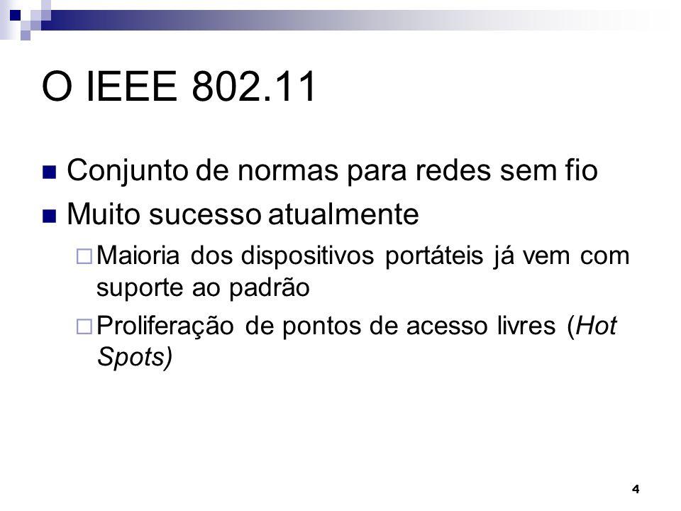 4 O IEEE 802.11 Conjunto de normas para redes sem fio Muito sucesso atualmente Maioria dos dispositivos portáteis já vem com suporte ao padrão Prolife