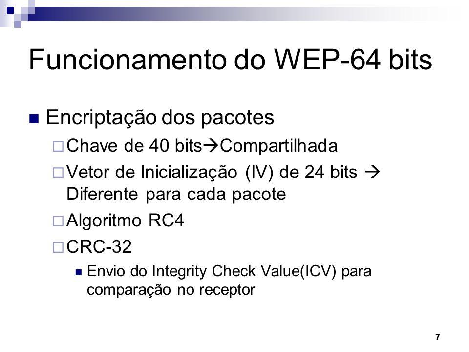7 Funcionamento do WEP-64 bits Encriptação dos pacotes Chave de 40 bits Compartilhada Vetor de Inicialização (IV) de 24 bits Diferente para cada pacot