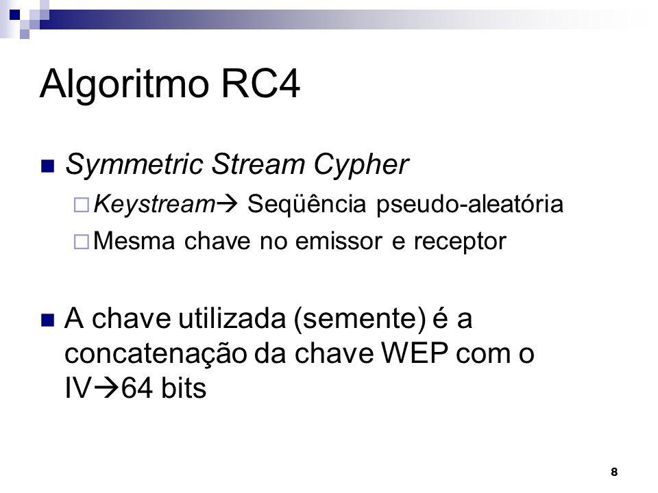 8 Algoritmo RC4 Symmetric Stream Cypher Keystream Seqüência pseudo-aleatória Mesma chave no emissor e receptor A chave utilizada (semente) é a concate