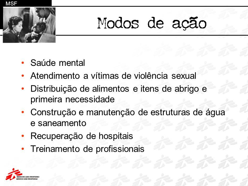 Saúde mental Atendimento a vítimas de violência sexual Distribuição de alimentos e itens de abrigo e primeira necessidade Construção e manutenção de e