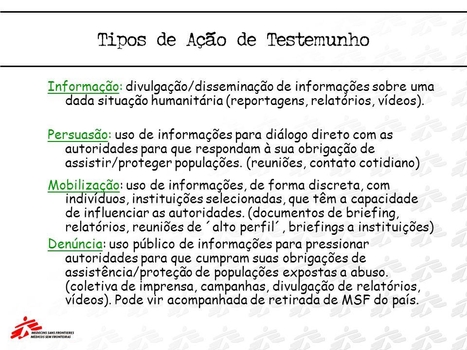 Tipos de Ação de Testemunho Informação: divulgação/disseminação de informações sobre uma dada situação humanitária (reportagens, relatórios, vídeos).