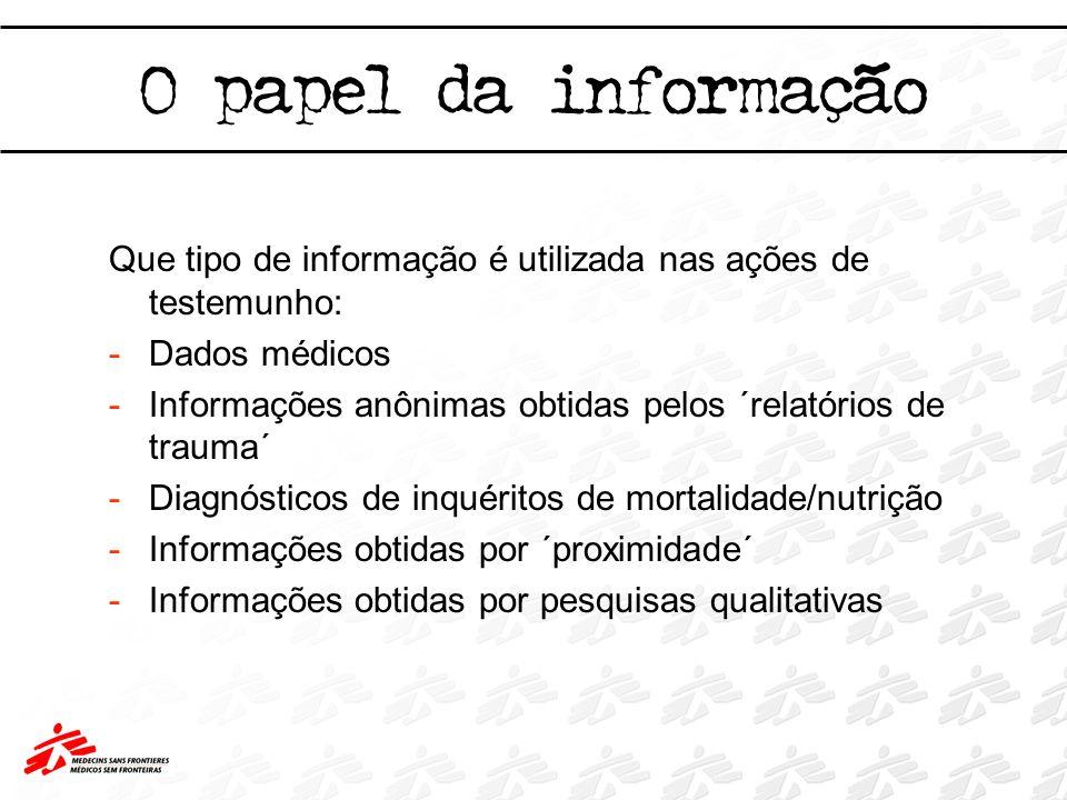 O papel da informação Que tipo de informação é utilizada nas ações de testemunho: -Dados médicos -Informações anônimas obtidas pelos ´relatórios de tr