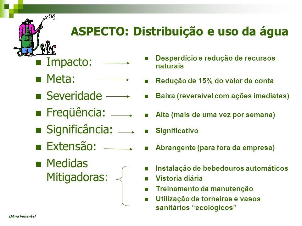 ASPECTO: Distribuição e uso da água Impacto: Meta: Severidade Freqüência: Significância: Extensão: Medidas Mitigadoras: Desperdício e redução de recur