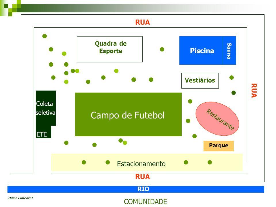 Quadra de Esporte Vestiários COMUNIDADE RIO Estacionamento Restaurante Coleta seletiva ETE Campo de Futebol Piscina RUA Sauna Parque Dilma Pimentel