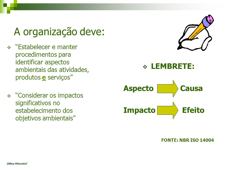 Aspecto Elemento das atividades ou produtos ou serviços de uma organização (3.16) que pode interagir com o meio ambiente(3.5) Nota: Um aspecto ambiental significativo é aquele que tem ou pode ter um impacto ambiental (3.7) significativo Impacto Qualquer modificação do meio ambiente (3.5), adversa ou benéfica, que resulte, no todo ou em parte, dos aspectos ambientais (3.6) da organização (3.16) Dilma Pimentel