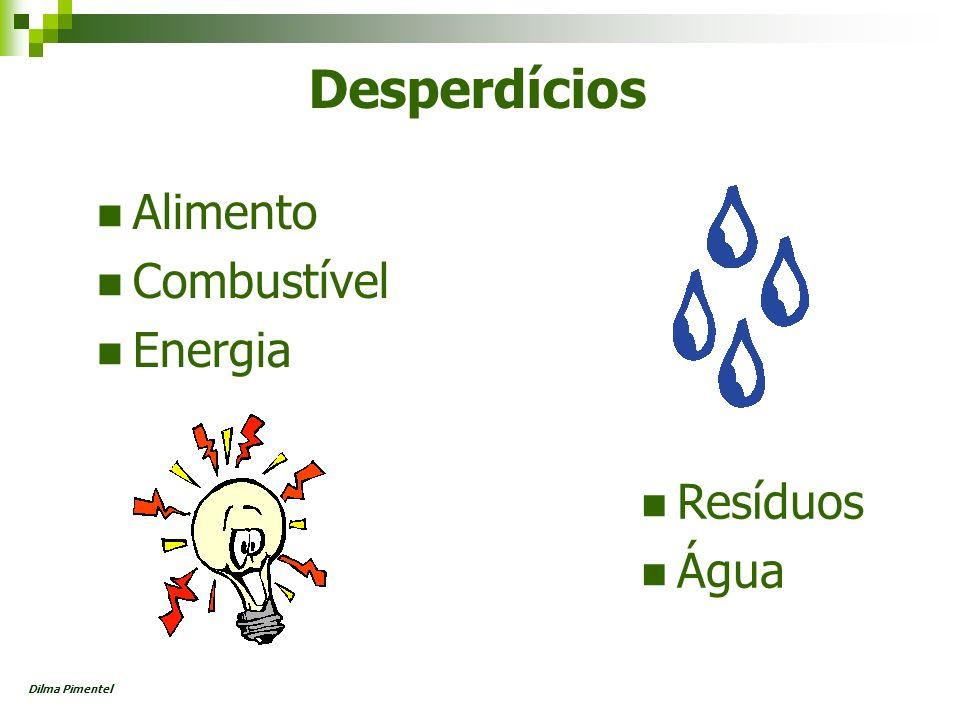 Principais Aspectos Distribuição e uso da água Lixo produzido Descarte de embalagens Efluentes sanitários Emissão de gases poluentes Uso de material de papelaria Qualidade do ar Descarte de produtos químicos Dilma Pimentel