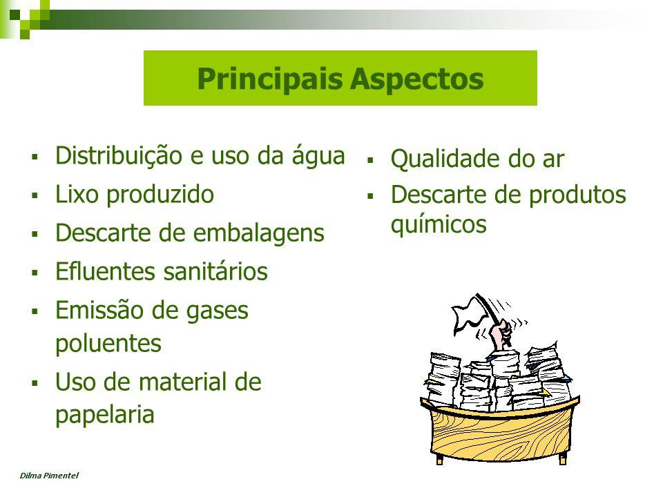 Principais Aspectos Distribuição e uso da água Lixo produzido Descarte de embalagens Efluentes sanitários Emissão de gases poluentes Uso de material d