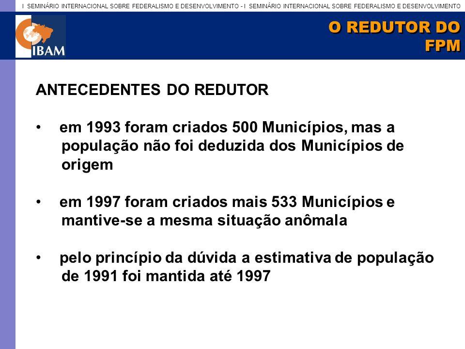 I SEMINÁRIO INTERNACIONAL SOBRE FEDERALISMO E DESENVOLVIMENTO - I SEMINÁRIO INTERNACIONAL SOBRE FEDERALISMO E DESENVOLVIMENTO O REDUTOR DO FPM O REDUTOR DO FPM ANTECEDENTES DO REDUTOR em 1993 foram criados 500 Municípios, mas a população não foi deduzida dos Municípios de origem em 1997 foram criados mais 533 Municípios e mantive-se a mesma situação anômala pelo princípio da dúvida a estimativa de população de 1991 foi mantida até 1997