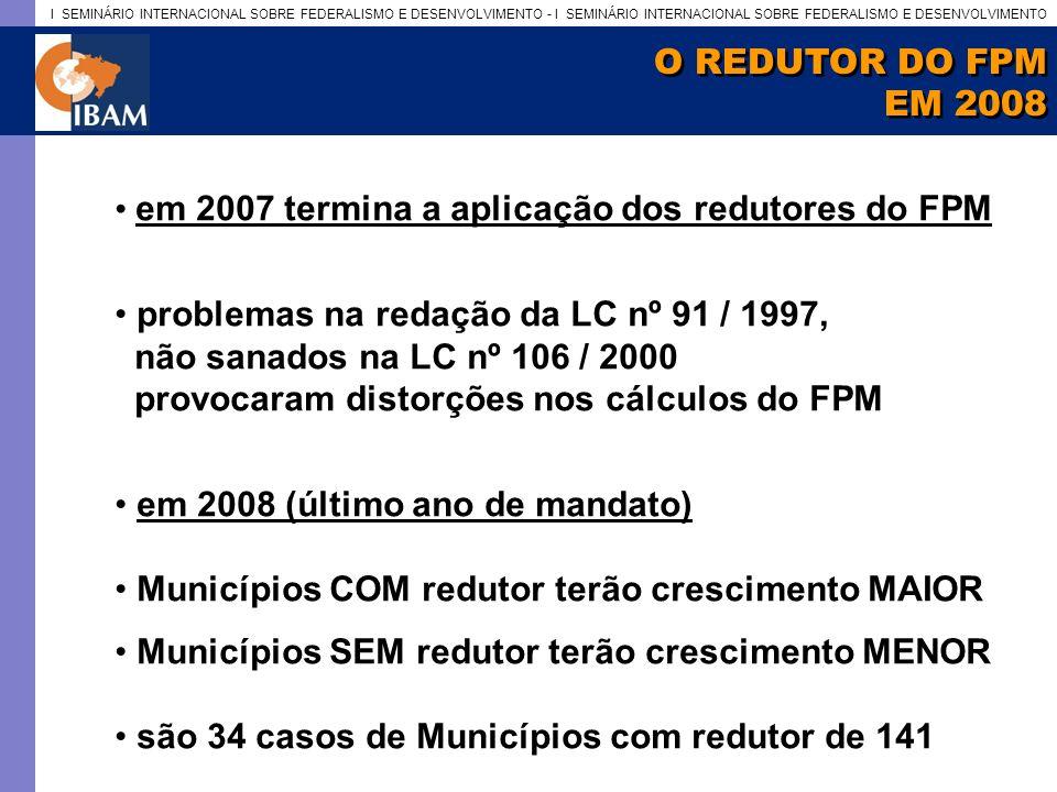 I SEMINÁRIO INTERNACIONAL SOBRE FEDERALISMO E DESENVOLVIMENTO - I SEMINÁRIO INTERNACIONAL SOBRE FEDERALISMO E DESENVOLVIMENTO O REDUTOR DO FPM EM 2008 O REDUTOR DO FPM EM 2008 em 2007 termina a aplicação dos redutores do FPM problemas na redação da LC nº 91 / 1997, não sanados na LC nº 106 / 2000 provocaram distorções nos cálculos do FPM em 2008 (último ano de mandato) Municípios COM redutor terão crescimento MAIOR Municípios SEM redutor terão crescimento MENOR são 34 casos de Municípios com redutor de 141