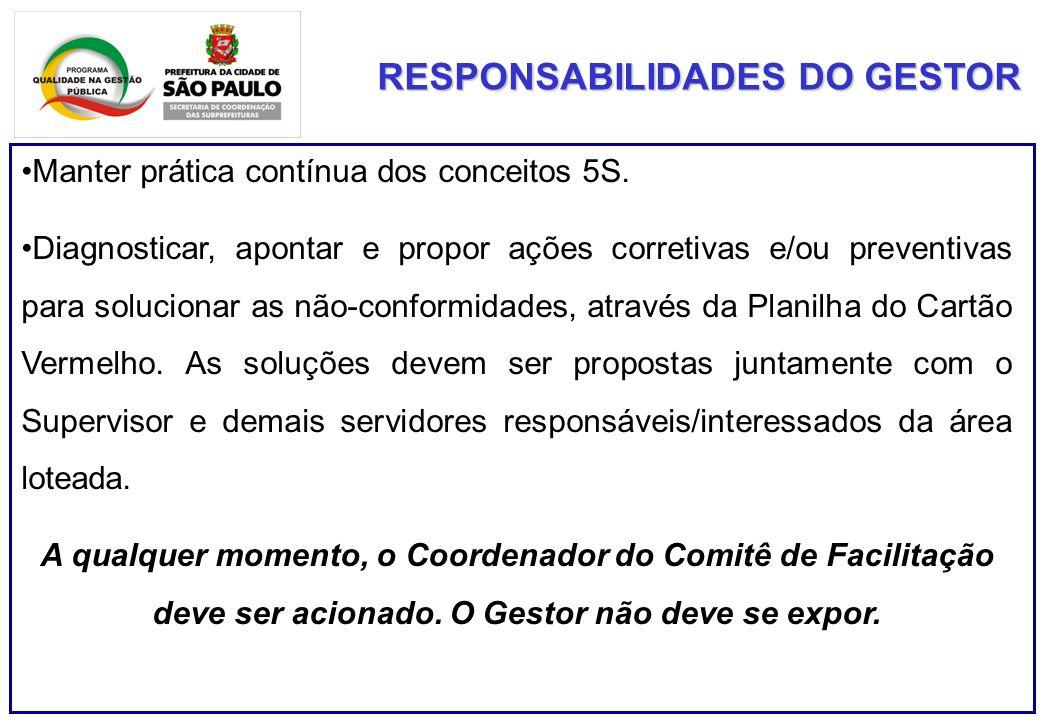 RESPONSABILIDADES DO GESTOR Manter prática contínua dos conceitos 5S.