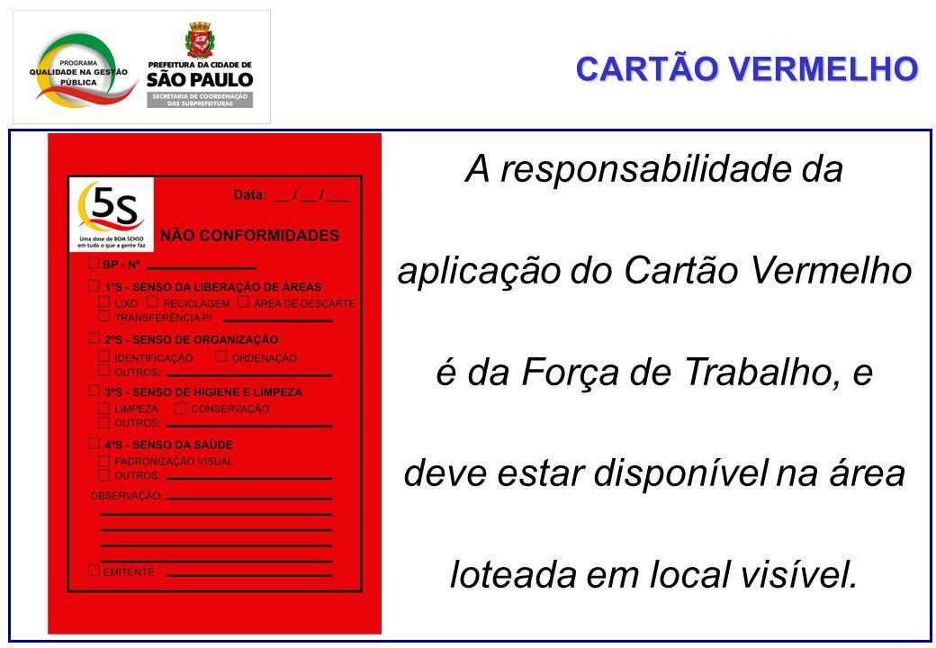 CARTÃO VERMELHO A responsabilidade da aplicação do Cartão Vermelho é da Força de Trabalho, e deve estar disponível na área loteada em local visível.