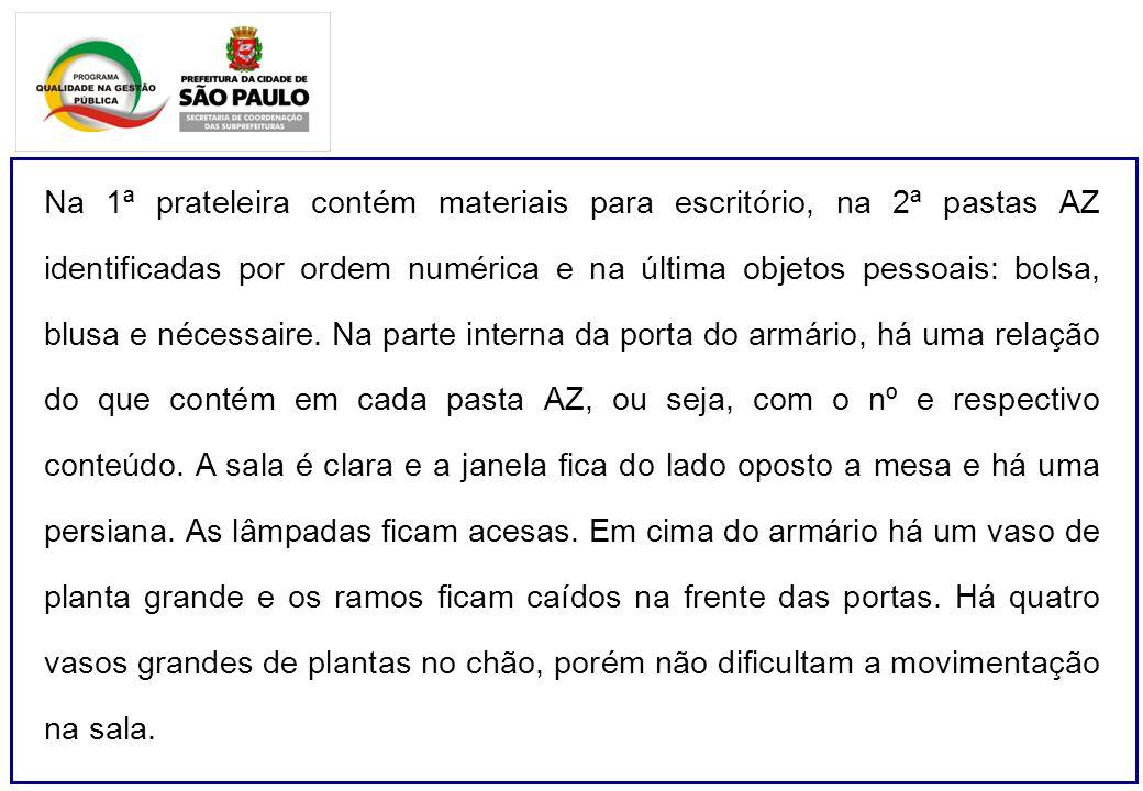 Na 1ª prateleira contém materiais para escritório, na 2ª pastas AZ identificadas por ordem numérica e na última objetos pessoais: bolsa, blusa e nécessaire.