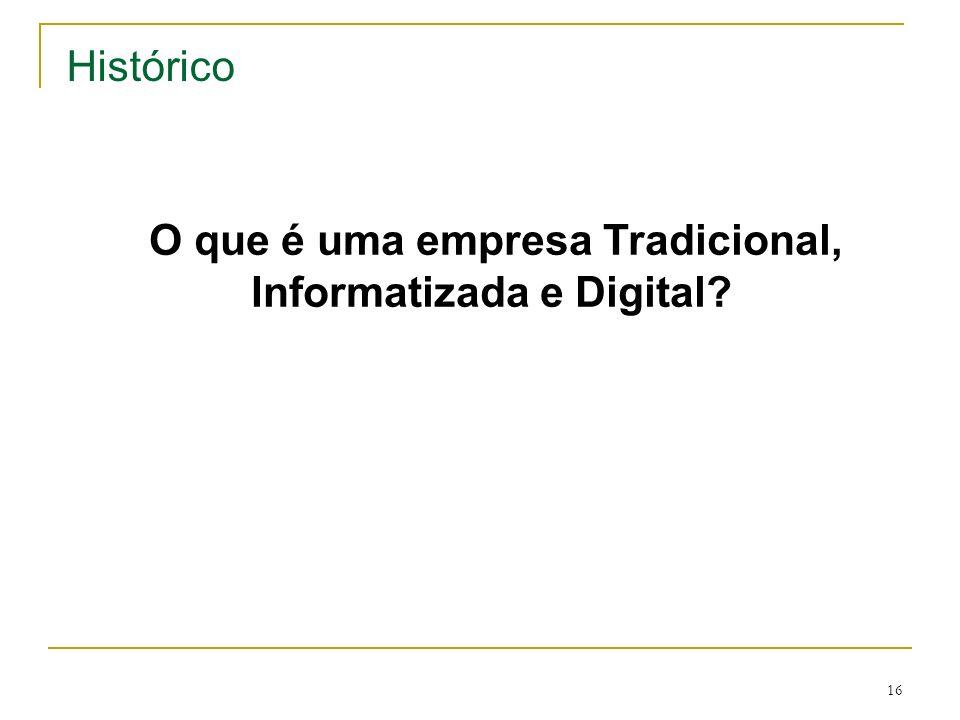 16 Histórico O que é uma empresa Tradicional, Informatizada e Digital?