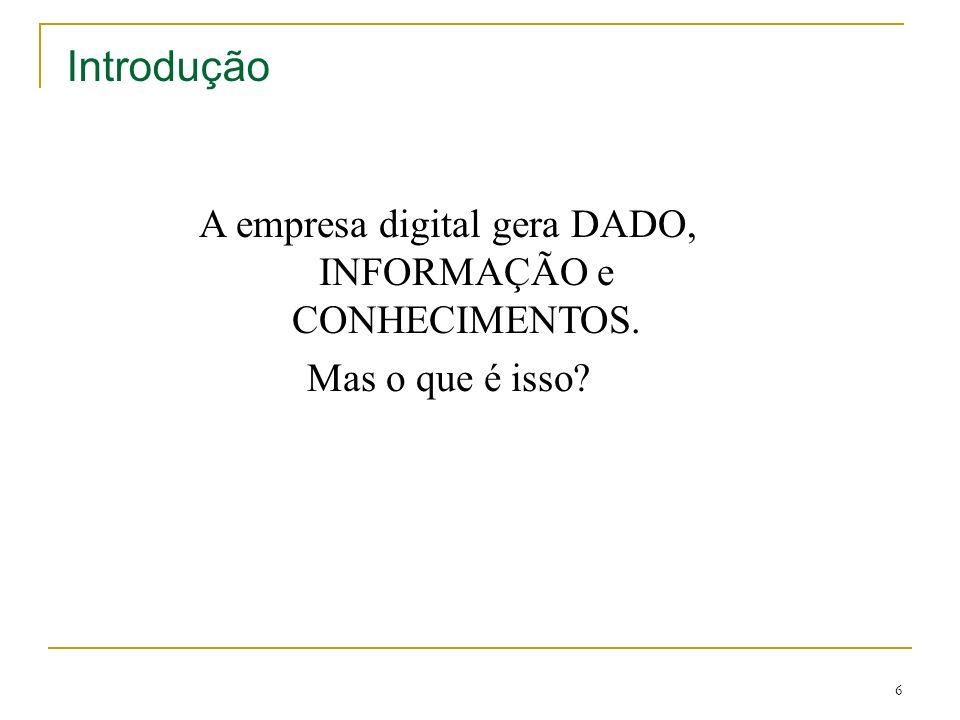 6 Introdução A empresa digital gera DADO, INFORMAÇÃO e CONHECIMENTOS. Mas o que é isso?