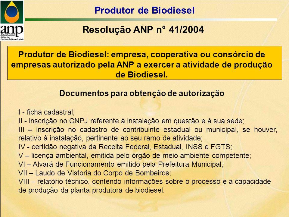 Produtor de Biodiesel: empresa, cooperativa ou consórcio de empresas autorizado pela ANP a exercer a atividade de produção de Biodiesel.