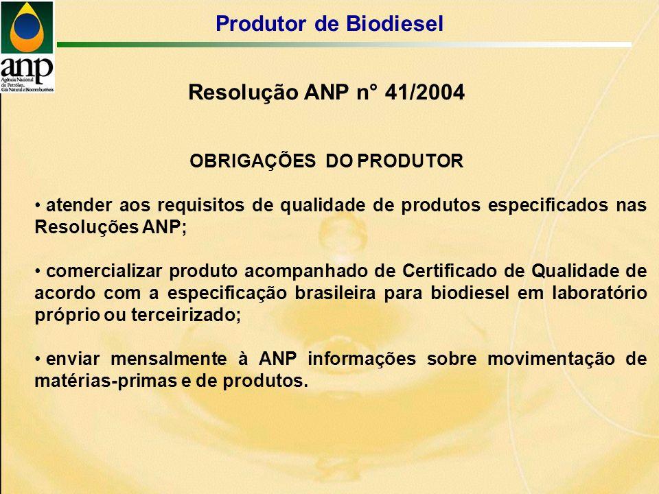 Resolução ANP n° 41/2004 Produtor de Biodiesel OBRIGAÇÕES DO PRODUTOR atender aos requisitos de qualidade de produtos especificados nas Resoluções ANP; comercializar produto acompanhado de Certificado de Qualidade de acordo com a especificação brasileira para biodiesel em laboratório próprio ou terceirizado; enviar mensalmente à ANP informações sobre movimentação de matérias-primas e de produtos.